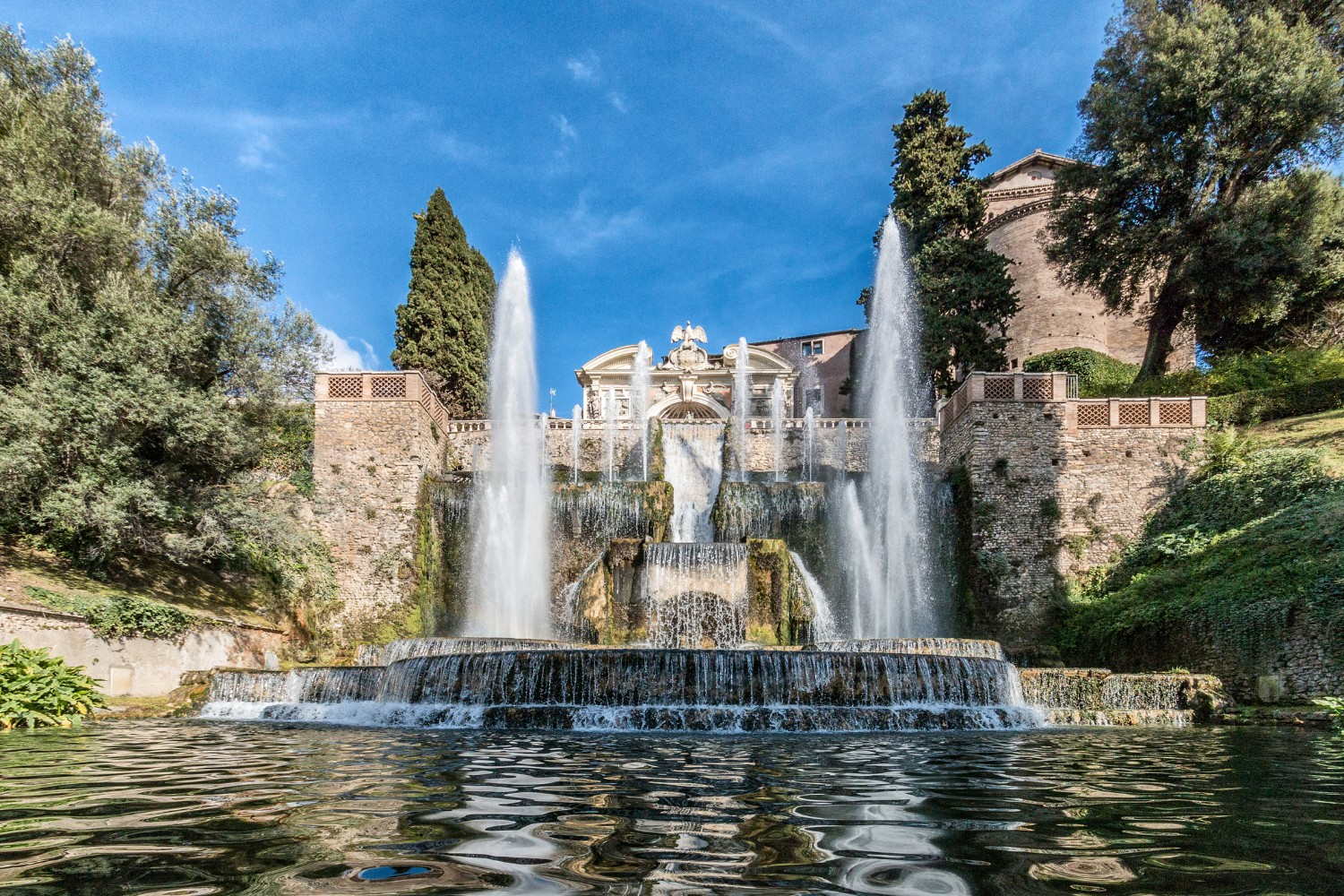 "View of the Villa d""Este from the gardens and fountain in Tivoli 