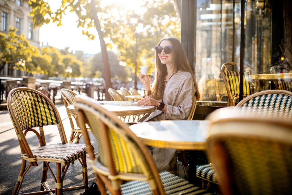 Woman sitting at a terrace Cafe in Paris | Paris Restaurants